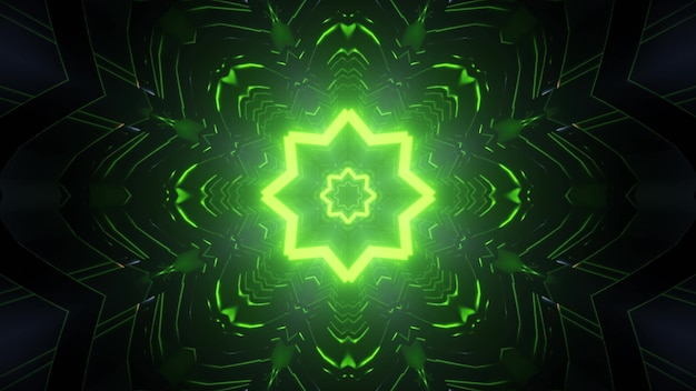 Abstract futuristic background 3d illustration of endless dark tunnel with glowing green neon star shaped holes and light reflections Premium Photo