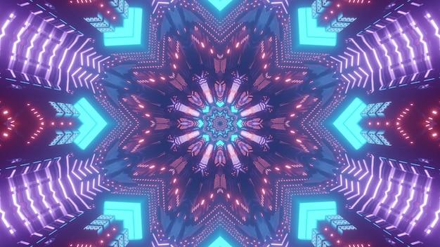 밝은 네온 색상의 만화경 패턴을 형성하는 대칭 기하학적 형태와 추상 미래의 배경 3d 그림