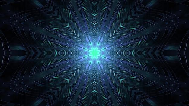 밝은 파란색 네온 불빛을 반사하는 대칭 기하학적 금속 인테리어 디자인이 있는 어두운 터널의 추상 미래 배경 4k uhd 3d 그림