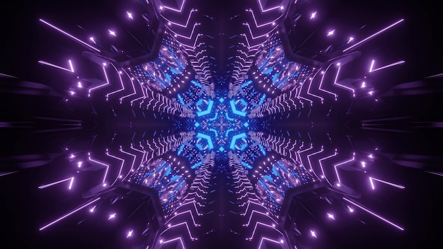 Abstract futuristic background interior of virtual world tunnel with symmetric geometric and glowing neon lights