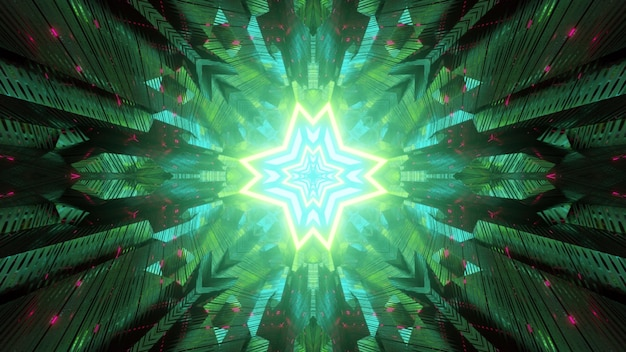 Abstract futuristic background of sci fi tunnel perspective with geometric star shaped hole glowing in green neon light reflected in symmetric panels