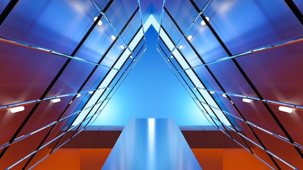 Abstract futuristic background triangle lighting, 3d rendering