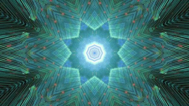 빛나는 녹색 네온 기하학적 별 모양의 장식 및 공상 과학 게이트웨이의 광선으로 추상 미래의 배경