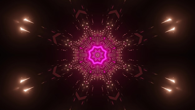 Abstract futuristic background with shiny neon pink geometric shapes and gleaming rays reflected in dark surface of endless tunnel