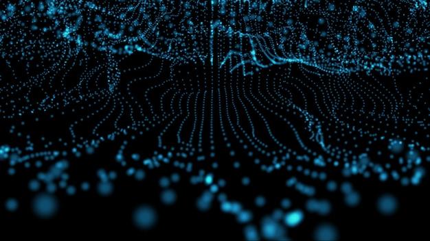 추상 미래의 파란색 신경망 디지털 프레임 공상 과학 개념 그림