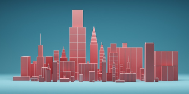 Abstract futuristic city with skyscrapers