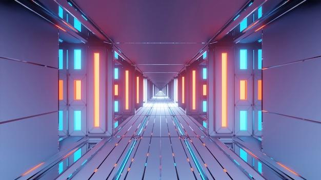 青とオレンジ色のライトが光る抽象的な未来的な回廊