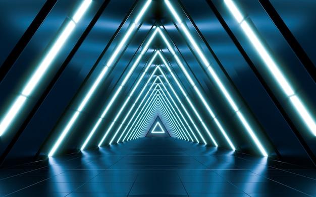 네온 빛으로 추상 미래의 어두운 복도입니다.
