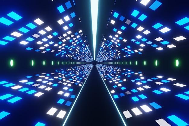 Абстрактный футуристический цифровой технологический космический туннель фон 3d-рендеринга