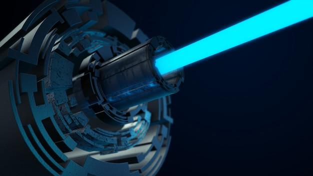 青いレーザーで抽象的な未来のデジタル技術