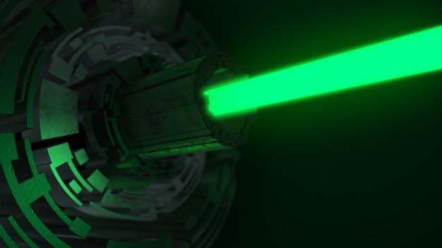 緑のレーザーで抽象的な未来のデジタル技術