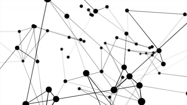 抽象的な未来的なドット円とライン分子ネットワーク構造ブラックカラーホワイトバックグラウンド