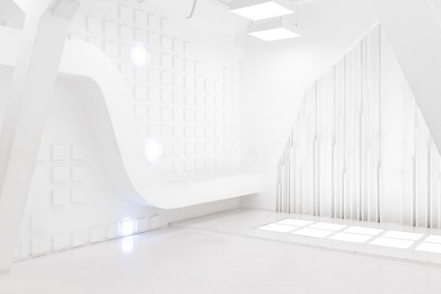 Абстрактный футуристический интерьер пустой комнаты в белом цвете с подсветкой в стиле космического корабля. геометрический орнамент на стенах.