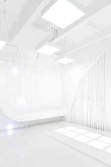 Abstract futuristic empty room interior in white with illumination in the style of a spaceship. geometric decoration on the walls.