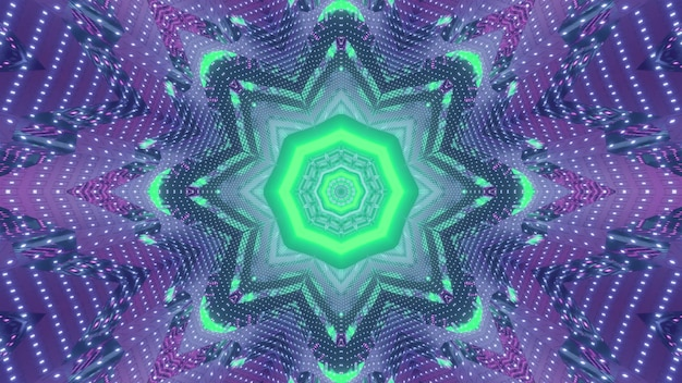 Abstract futuristic fractal geometrical background 3d illustration with octagonal center and flower shaped lines surrounded by symmetric gleaming sparkles in bright green and purple neon colors