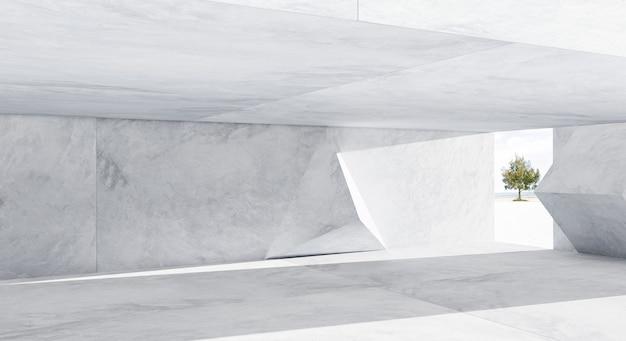 Abstract futuristic geometric pattern concrete design interior . 3d rendering .