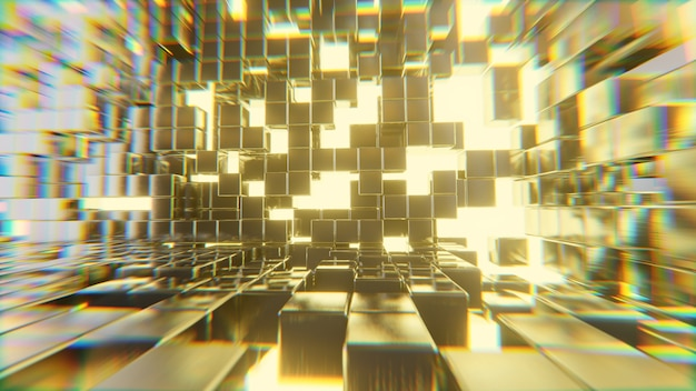 Abstract futuristic golden cubes lighting explosion sci fi background, 3d rendering.