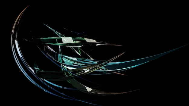 Abstract futuristic image of glass twisted multi-colored crystals
