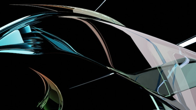 Abstract futuristic image of glass twisted multi-colored crystals Premium Photo