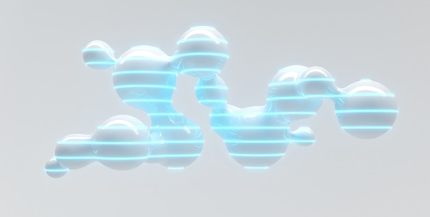 Abstract futuristic light table of separating flying bubbles with glowing contours 3d illustration