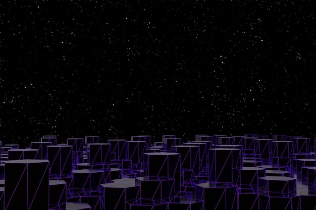 Абстрактный футуристический низкий поли фон из черных шестиугольников со светящейся фиолетовой сеткой. минималистичный черный 3d-рендеринг. концепция ночной город и звездное небо.