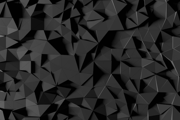 Abstract futuristic low poly background from black triangles. minimalist black 3d rendering.