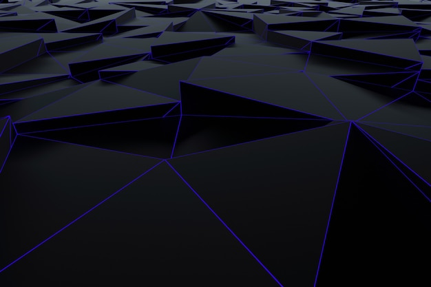 明るい青いグリッドを持つ黒い三角形からの抽象的な未来的な低ポリゴンの背景。ミニマリストの黒の3dレンダリング。