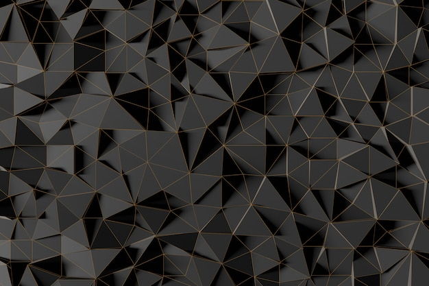 Abstract futuristic low poly background from black triangles with a luminous gold grid. minimalist black 3d rendering.