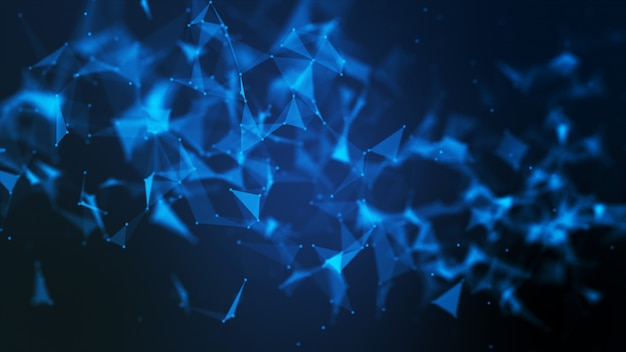 Abstract futuristic molecule structure blue color black background
