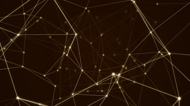 Abstract futuristic molecule structure gold color black background