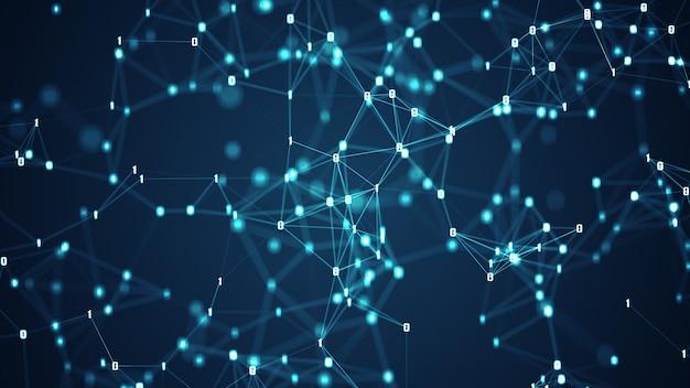 추상 미래-분자 기술 라인 및 점 진한 파란색 배경을 연결합니다.