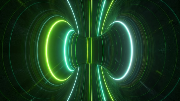 Abstract futuristic neon background with rotating glowing lines speed of light ultraviolet