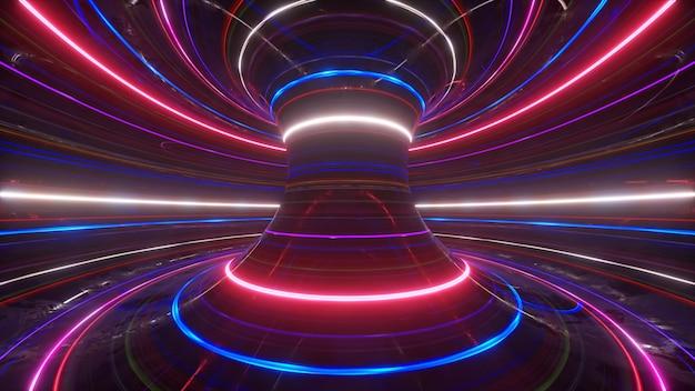 Абстрактный футуристический неоновый фон с вращающимися светящимися линиями, скорость света ультрафиолета