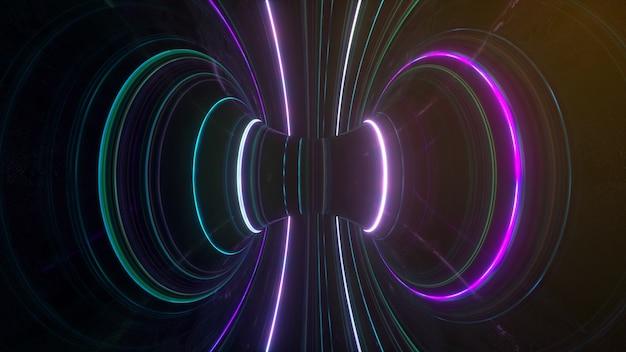 光の紫外線の回転する輝く線の速度を持つ抽象的な未来的なネオンの背景
