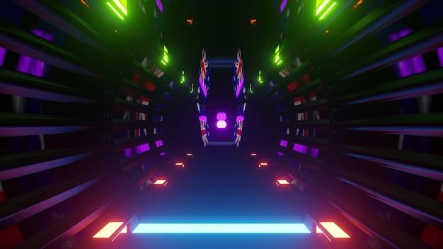 Abstract futuristic sci fi architecture background of dark corridor perspective with multicolored neon illumination in 4k uhd 3d illustration