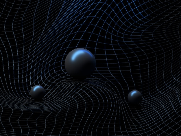 Abstract futuristic sci-fi background with warped wireframe, curved line surface and shiny balls.