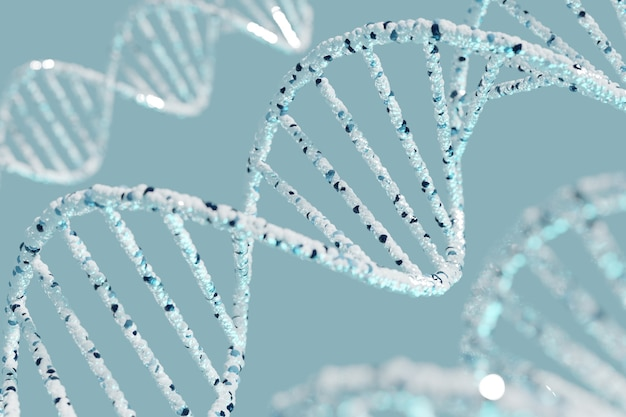 Абстрактный футуристический наука биотехнология днк спиральный фон 3d-рендеринга