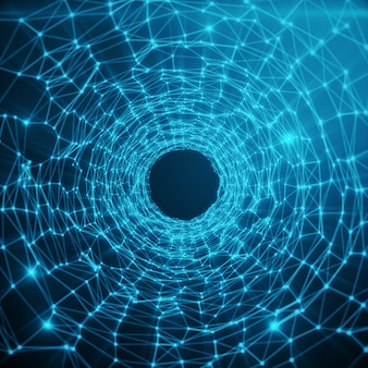Abstract futuristic speed tunnel warp. abstract science fiction futuristic background. abstract space background, geometry surfaces with connecting dots and lines on blue tint background, 3d rendering