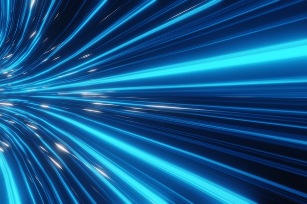 抽象的な未来的なストリームデジタルデータネオンスピードモーション輝く光の軌跡トンネルの背景3dレンダリング