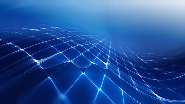 Абстрактный футуристический технологический фон с фрактальным горизонтом