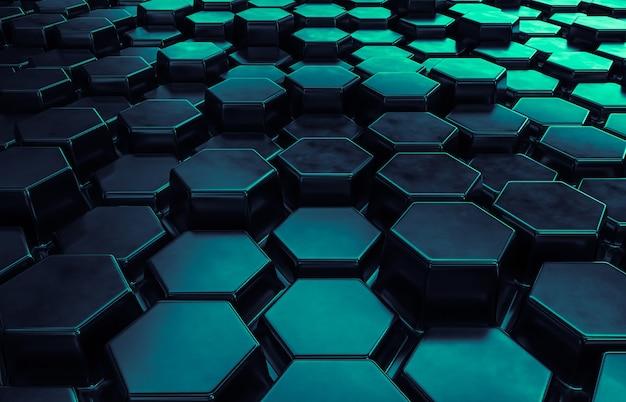 六角形のパターンを持つ抽象的な未来技術の背景