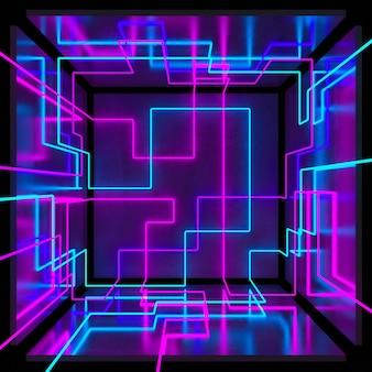 추상 미래 기술 개념입니다. 네온 큐브 터널 현대적인 배경입니다. 형광 자외선 빛나는 빛 라인. 3d 그림