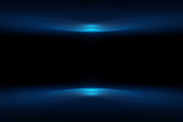 Abstract futuristic technology cyber space blue wave background 3d rendering Premium Photo