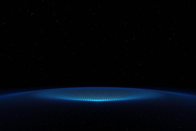 Абстрактные футуристические технологии кибер-пространство синяя волна фон 3d-рендеринг