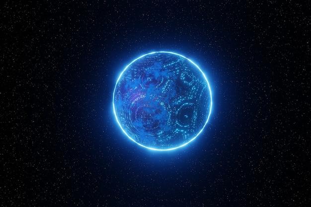 抽象的な未来技術ネットワーク空間惑星背景3dレンダリング