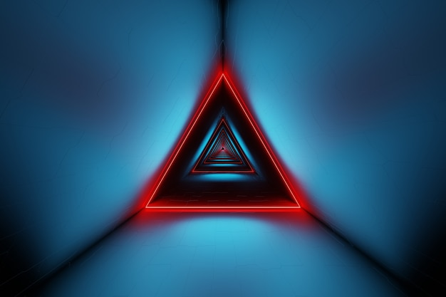 Abstract futuristic triangle space tunnel glowing neon lights 3d rendering
