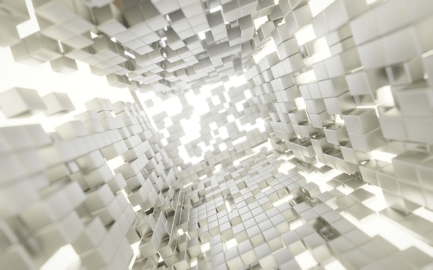 Abstract futuristic white cubes and lighting explosion sci fi