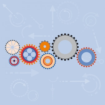 Abstract gears background in flat