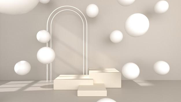 추상적 인 기하학적 3d 렌더링 제품 전시 스탠드 또는 쇼케이스 라이트 크림 컬러 제품