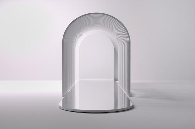 흰색 바탕에 추상적 인 기하학적 아치와 거울 연단 받침대. 3d 그림.